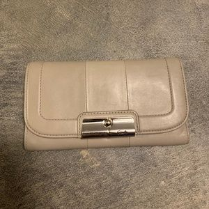 Grey Leather Trifold Coach Wallet